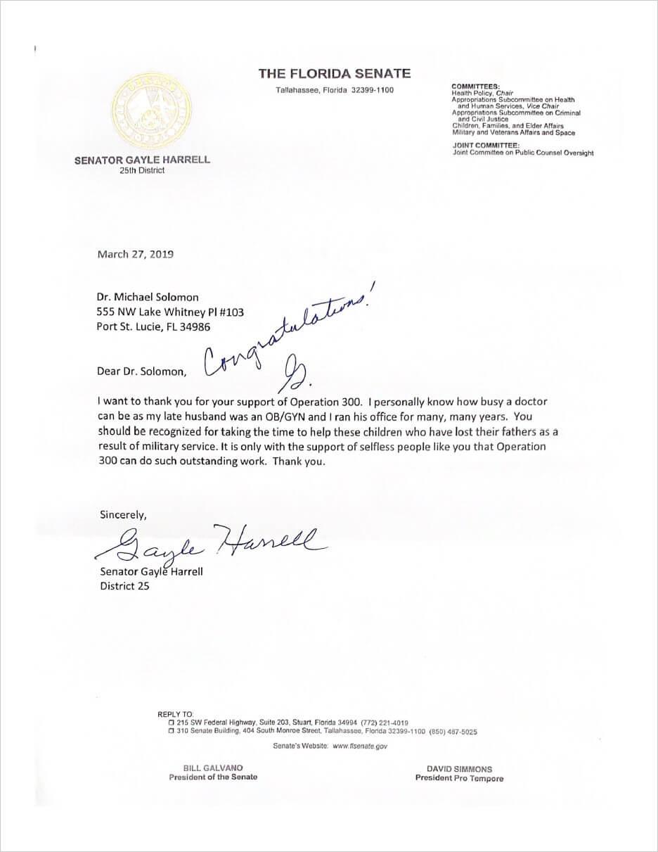 Letter from Senator Harrell